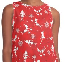 Christmas snow elves red pattern Contrast Tank