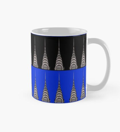 Chrysler Building Pattern in Blue and Black Mug