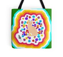 The Tale of the Orange Cat and a Mouse Against Flowers 80s Version Tote Bag