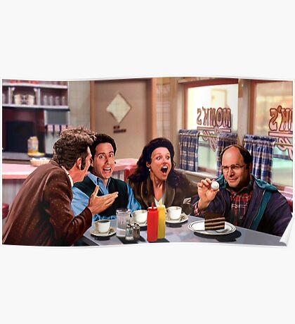 Seinfeld Crew in Monk's Diner Poster