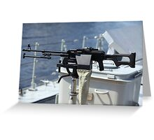 Machine gun on warship Greeting Card