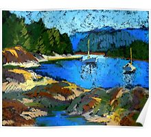 Belcarra. Study in pastel. Boats Poster