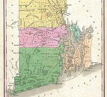 Vintage Map of Rhode Island (1827) by BravuraMedia