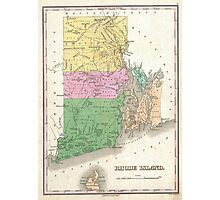 Vintage Map of Rhode Island (1827) Photographic Print