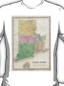 Vintage Map of Rhode Island (1827) T-Shirt