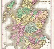 Vintage Map of Scotland (1827)  by BravuraMedia