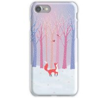 Fox - Snow - Trees - Cardinals iPhone Case/Skin