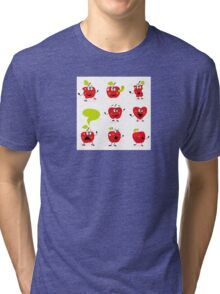 Funny red Apple fruit characters isolated on white background Tri-blend T-Shirt