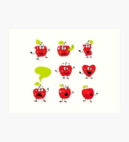 Funny red Apple fruit characters isolated on white background Art Print
