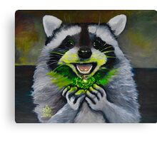 Kiki; the Curious Dumpster Panda Finds a Firefly Canvas Print