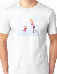 Christmas ice skating: Mother and daughter Unisex T-Shirt