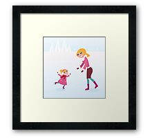 Christmas ice skating: Mother and daughter Framed Print