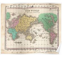 Vintage Map of The World (1827) Poster