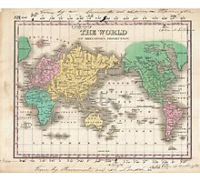 Vintage Map of The World (1827) Photographic Print