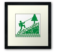 Climb To Safety Green Framed Print
