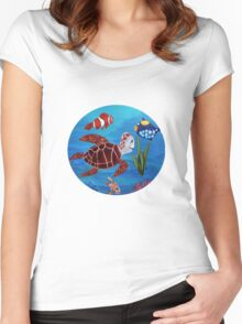 Swimming the sea Women's Fitted Scoop T-Shirt