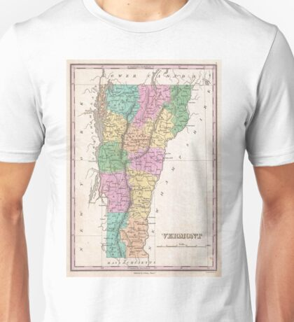 Vintage Map of Vermont (1827) Unisex T-Shirt