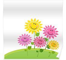 Happy Spring Flower Garden. Vector Illustration Poster