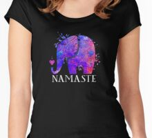 Namaste Elephant Peaceful Watercolor Women's Fitted Scoop T-Shirt