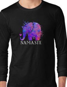 Namaste Elephant Peaceful Watercolor Long Sleeve T-Shirt