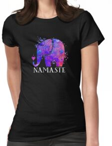 Namaste Elephant Peaceful Watercolor Womens Fitted T-Shirt