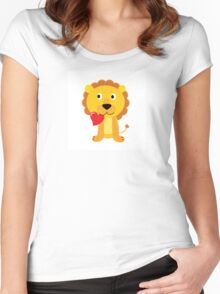 Cute little lion with red heart isolated on white Women's Fitted Scoop T-Shirt