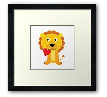 Cute little lion with red heart isolated on white Framed Print