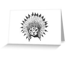 Indian Chief Cat Greeting Card