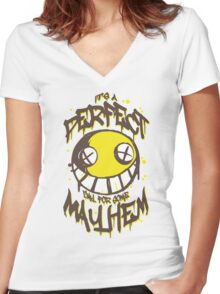 Perfect Day for Mayhem Women's Fitted V-Neck T-Shirt