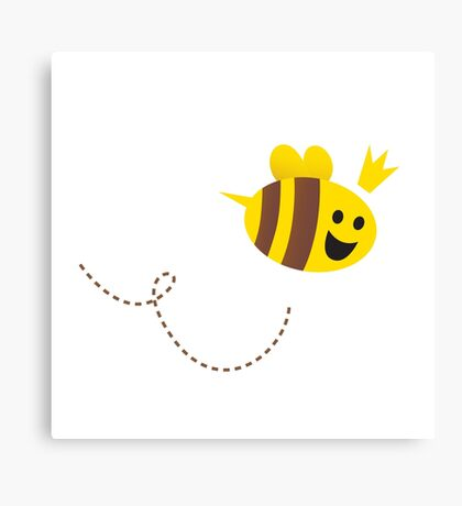 Mother / Queen bee isolated on white background. Vector Illustration. Canvas Print