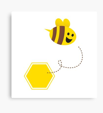 Little flying honey bee ( with yellow and brown stripes ) Canvas Print