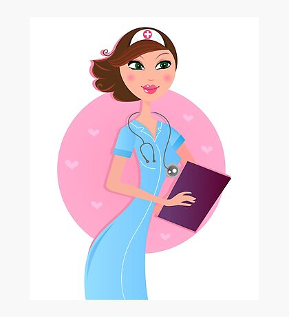 Smiling sexy brown hair nurse / pink and blue original gift for Nurses Photographic Print