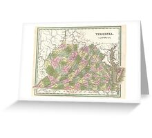 Vintage Map of Virginia (1838)  Greeting Card
