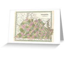 Vintage Map of Virginia (1838)  Greeting Card