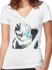 Space Garrus  Women's Fitted V-Neck T-Shirt