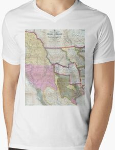 Vintage Map of The Western United States (1846)  Mens V-Neck T-Shirt