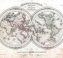Vintage Map of The World (1848)  by BravuraMedia
