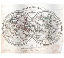Vintage Map of The World (1848)  Poster