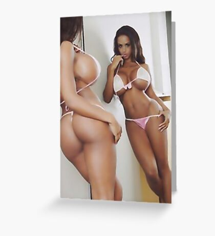 Curves at mirror, sexy latina posing Greeting Card