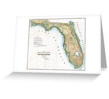 Vintage Map of Florida (1848)  Greeting Card