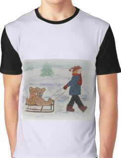Snow Bear Girl Sled,  Graphic T-Shirt