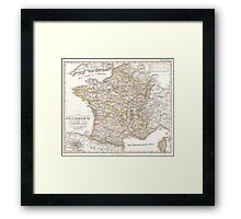 Vintage Map of France (1850)  Framed Print