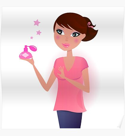 Girl in pink with perfume bottle - special edition for pregnant ladies Poster