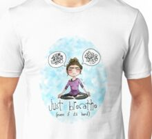 Just Breathe Watercolor Sticker and Shirt Unisex T-Shirt