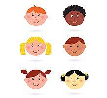 Original hand-drawn kids illustration / multicultural theme Photographic Print