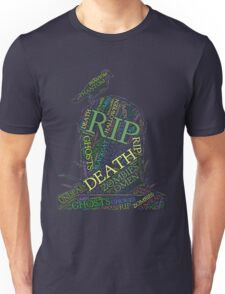 Scary Tombstone Grave Halloween And Crow Death Design Unisex T-Shirt