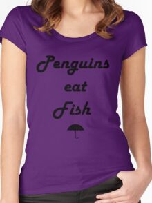 Penguins Eat Fish Women's Fitted Scoop T-Shirt