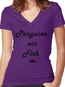 Penguins Eat Fish Women's Fitted V-Neck T-Shirt