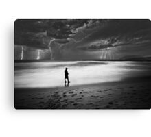 Lightning strikes the ocean off Manly beach Australia Canvas Print
