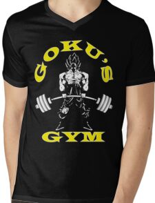 Goku's Gym (Yellow and White) Mens V-Neck T-Shirt